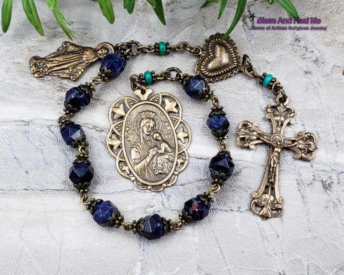 Miraculous Mary Lady of Perpetual Help Heart Sodalite Turquoise Bronze Gemstone Ornate Antique Style decade Rosary Chaplet stress protection