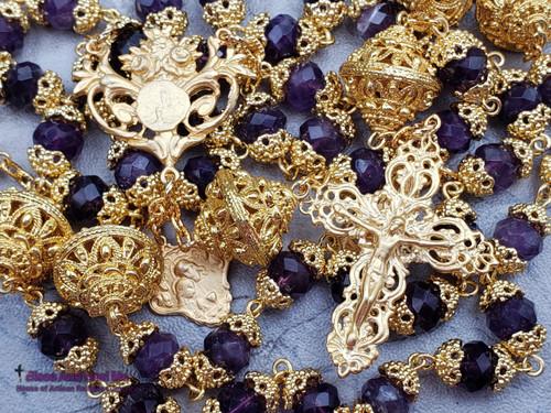 Lourdes Jesus Embrace Amethyst 22k Gold Plated Matt Vermeil Antique Style Ornate Filigree Rosary Health Joy Protection Happiness