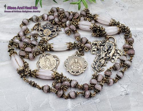 Lourdes Sacred Heart of Jesus Assumption of Mary Rose Quartz Bronze Ornate Antique Style Rosary Healing Love