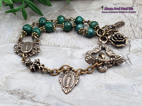 Miraculous Sacred Heart Antique Style Natural Emerald Ornate Solid Bronze 1 Decade Rosary Bracelet Chaplet Love,Joy,Faith,May birthstone