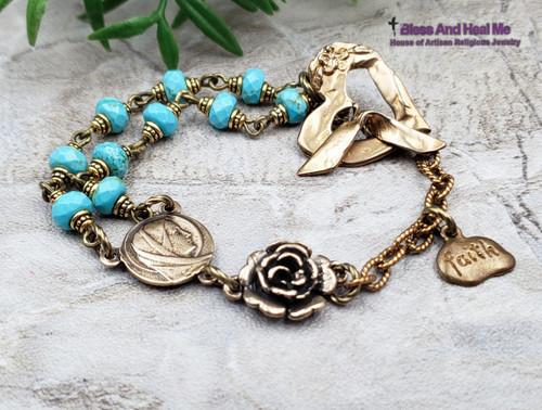 Blessed Virgin Mary Heart Faith Turquoise Bronze Gemstone Rosary Chaplet Bracelet Danger injuries protection,Healing.