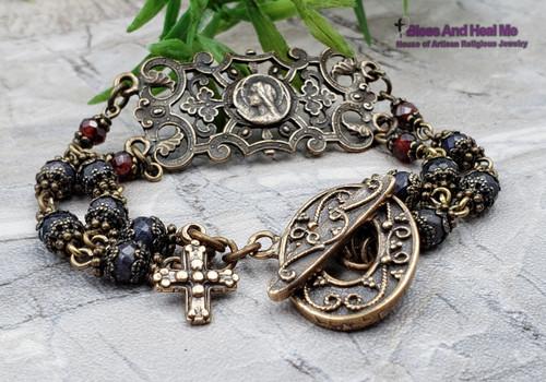 Blessed Virgin Mary Red Ruby Blue Sapphire Cross Bronze Antique Style Ornate Faith Bracelet
