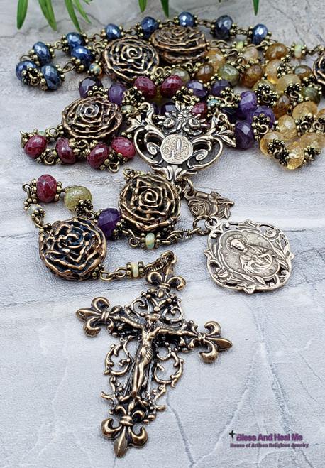 Lourdes Sacred Heart of Jesus Roses Natural Ruby Sapphire Welo Opal Citrine Amethyst Green Garnet Ornate Antique style Bronze Rosary