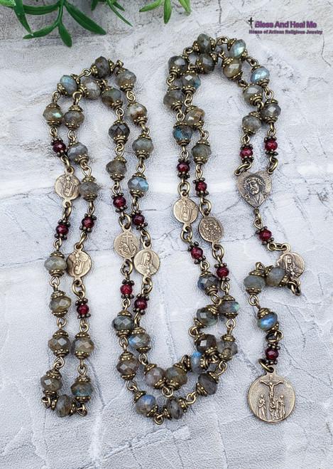 Seven Sorrows Seven Dolores Devotional Easter Labradorite Red Agate Bronze Gemstone Rosary Chaplet Faith Spiritual communication Protection