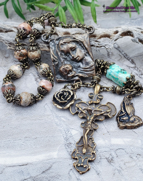 Mother Mary Baby Jesus Rhodonite Turquoise Bronze Antique style Ornate 1 decade Rosary Chaplet Unconditional Love Happiness Balance
