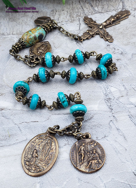 Cancer St Peregrine St Jude Lourdes Lord of Miracles Bronze Turquoise Chaplet Impossible causes,Healing,Harm Protection,Abundance.