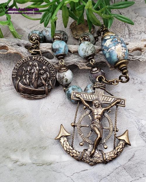 Sailors,Mariners Protecton Three Marys of the Sea Anchor Crucifix Larimar Terra Agate Bronze Chaplet Love Faith Hope Health Protection