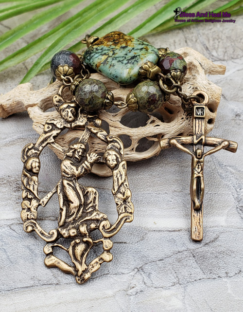 Jesus carrying the Cross Ecce Homo Face of Jesus Crown of Thorns Sorrowful Mother Easter Bloodstone Jasper Bronze Large Rosary Chaplet
