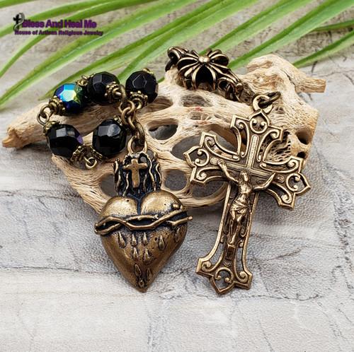 Sacred Bleeding Heart of Jesus Bronze Black Blue Czech Fire Polished Glass Antique Style Chaplet
