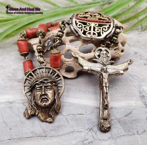 Face of Jesus Crown of Thorn Sacred Heart Holy Trinity Red Sponge Coral Ornate Bronze Rosary Chaplet danger injury protection health