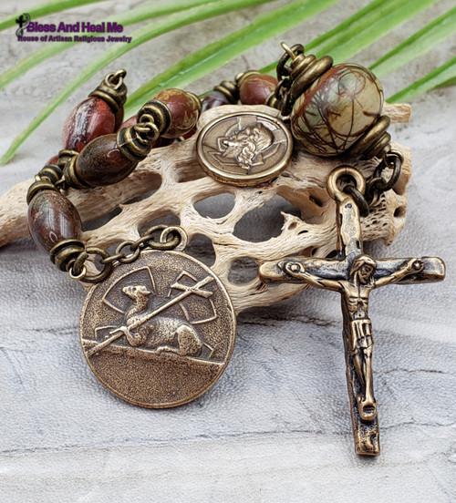 Agnus Dei Lamb of God Jesus with Cross Virgin Mary Jasper Bronze Artisan Chaplet Protection Stress Balance