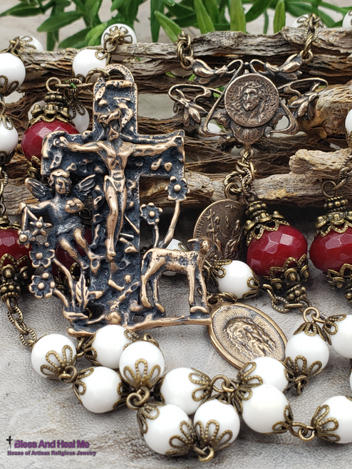Lamb of God,Face of Jesus,Crown of Thorns, Holy Trinity,Easter White Mother of Pearl Red Jade Bronze Antique Style Ornate Rosary