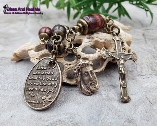 Christ Was Raised So We May Live a New Life Face of Jesus Red Tiger Eye Bronze Gemstone One Decade Rosary Chaplet protection good luck