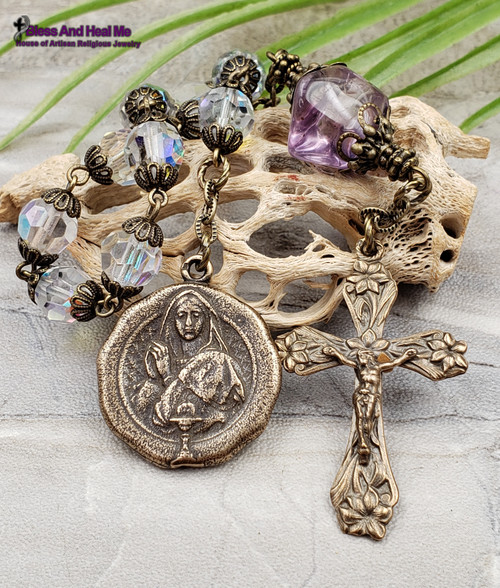 First Communion Mary Holy Eucharist Holy Spirit Aurora Borealis Crystal Amethyst Bronze Antique Style Chaplet Spiritual Communication Health