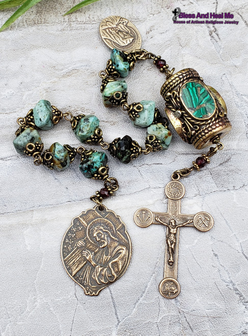 Jesus Carrying the Cross Lamb of God Crown of Thorns Nails Sorrowful Mother Turquoise Malachite Bronze Large Antique Style Rosary Chaplet