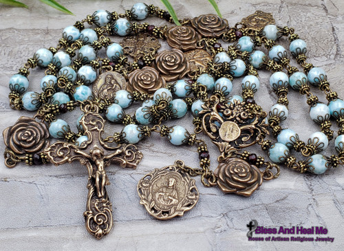 Lourdes Sacred Heart Miraculous Mary Raphael Roses Larimar Garnet Bronze Ornate Heirloom Antique Style Rosary Love Faith Hope Loyalty