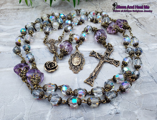 Miraculous Virgin Mary Aurora Boreales Crystal Amethyst Bronze Antique Style Ornate Rosary Spiritual Communication Health