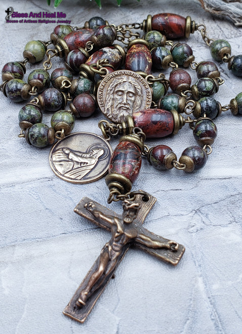 Devotional Holy Face of Jesus Agony in the Garden of Gethsemane Bronze Bloodstone Red Jasper Rosary Chaplet protection stress