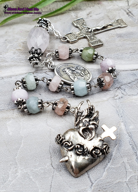 Immaculate Pierced Heart Roses Sacred Heart Aquamarine Morganite Rose Quartz Sterling silver Antique style Ornate Chaplet Love,Harmony