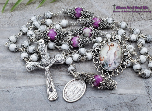 Ascension of Jesus Holy Face Easter White Howlite Purple Agate Silver Tone Ornate Rosary Protection Stress Balance
