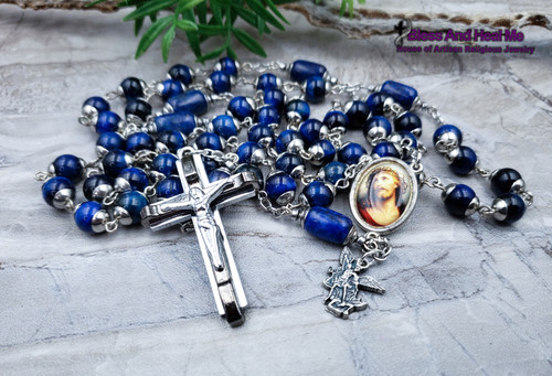 Face of Jesus Crown of Thorns Divine Mercy St Michael Blue Tiger Eye Lapis Lazuli Steel mens rosary.