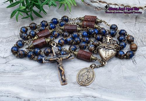 Sacred Bleeding Heart of Jesus Miraculous Mary Blue Quartz Chrysoprase Bronze Antique style Rosary danger injury protection health