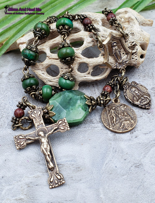 Cancer St Peregrine Jude Miraculous Mary Turquoise Jade Bronze Antique style Ornate Chaplet Healing Longevity Love Protection from danger