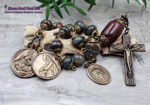 Agony in the Garden of Gethsemane Bleeding Heart Face of Jesus Sorrowful Mother Bronze Bloodstone Red Jasper Chaplet