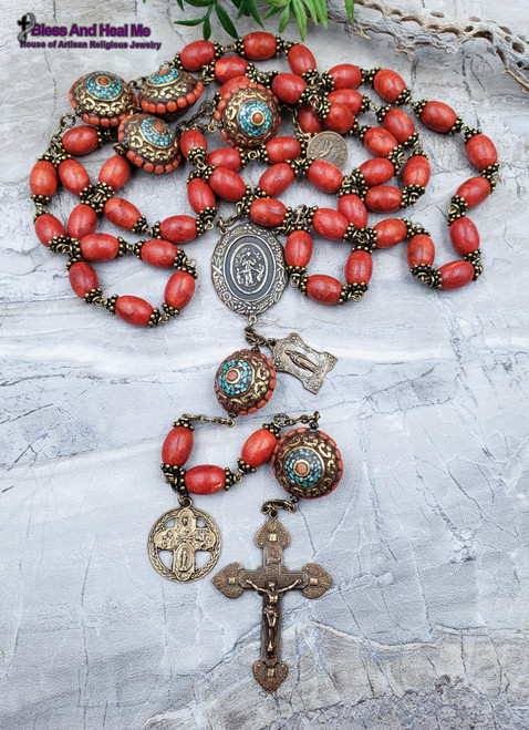 Mary Undoer of knots Sacred Heart Virgin Mary Turquoise Red Coral Bronze Ornate Large Wall Display Rosary Optimism Danger Protection Stress