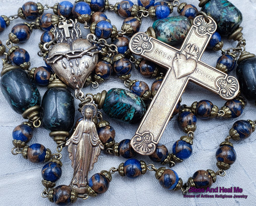 Sacred Bleeding Heart of Jesus Miraculous Mary Large Wall Bronze Rosary