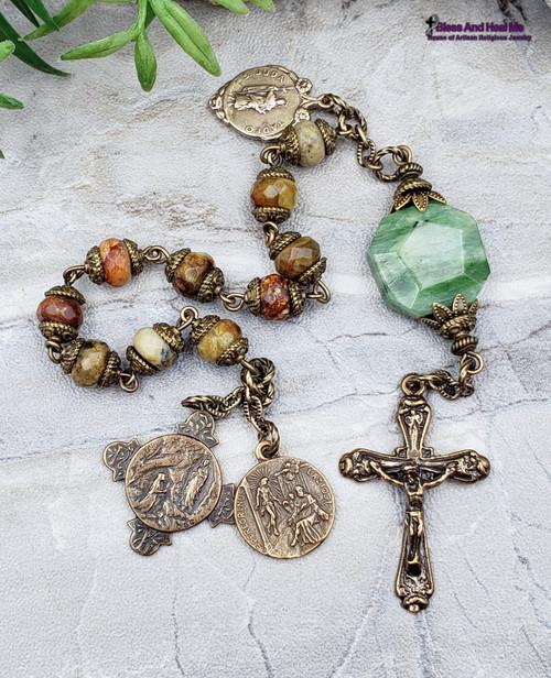 St Peregrine Jade Bronze Chaplet
