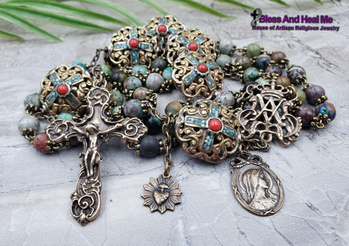 Blessed Virgin Mary Ornate Vintage Bronze Large Rosary
