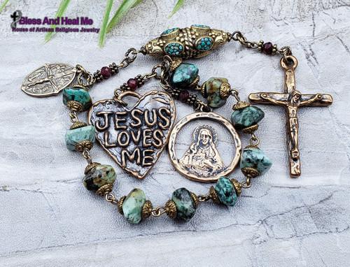 Sacred Heart Turquoise Bronze Chaplet