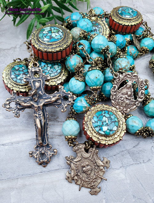 Mother Mary Sacred Heart Turquoise Red Coral Bronze Antique Style Heirloom Large Wall Rosary Protection Stress