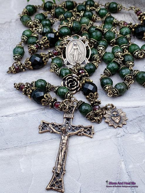 Miraculous Mary Sacred Heart of Jesus Green Jade Garnet Bronze Antique Style Rosary Health Love Longevity Protection Stress Good luck