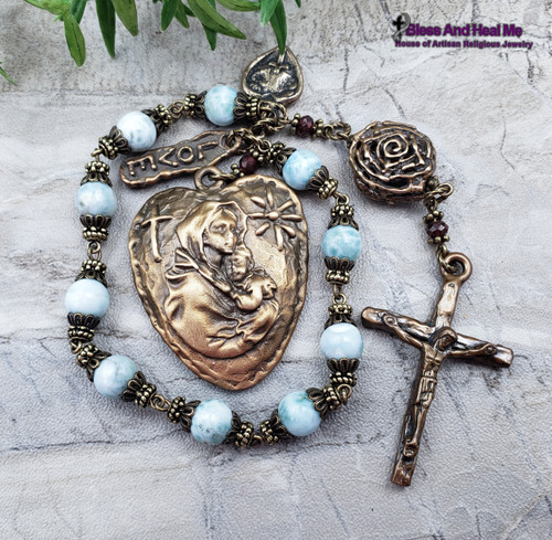 Mother Mary Rose Larimar Bronze Rosary