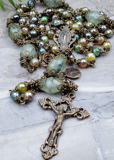 Lady of Grace Miraculous Lord of Miracles Green Agate Prehnite Bronze Ornate Antique Style Rosary Love Loyalty Harmony Happiness Success