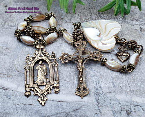Blessed Virgin Mary Assumption Sacred Heart Roses Pearl Shell Bronze Ornate Antique Style 1 Decade Rosary Chaplet Healing Love