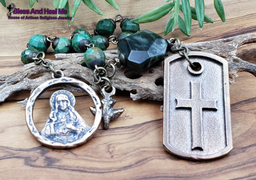 Sacred Heart dog tag Turquoise mens chaplet