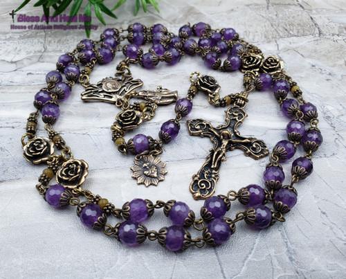 Virgin Mary Amethyst Vintage Bronze Rosary
