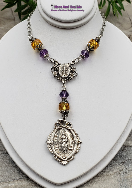 Ave Maria Miraculous Mary Sacred Heart of Jesus Sterling Silver Amethyst Citrine Catholic Christian Necklace Health Joy Happiness