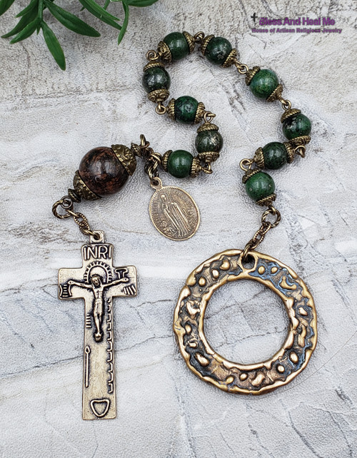 St Patrick St Brigit Green Jasper Penal Bronze pocket Chaplet for protection