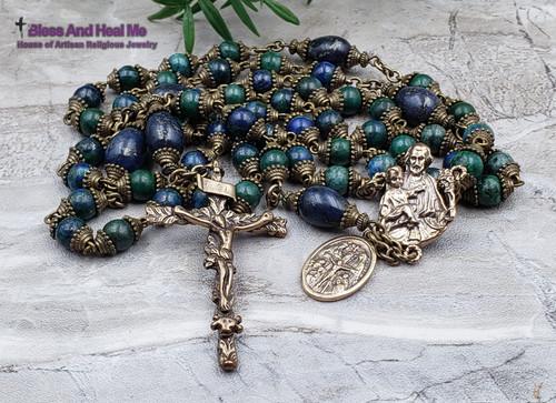 St Joseph Sacred Heart Virgin Mary St Christopher Holy Spirit Chrysocolla Blue Jasper Bronze Mens Rosary