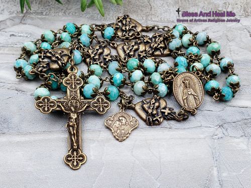 Sacred Heart of Jesus Immaculate Heart of Mary Amazonite Bronze Ornate Antique Style Rosary Love Loyalty Harmony Happy Marriage