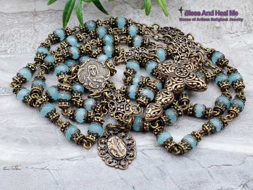 Sacred Heart Lourdes Lady of Carmel Blue Peruvian Opal Bronze Antique Style Ornate Gemstone Rosary communication with higher power