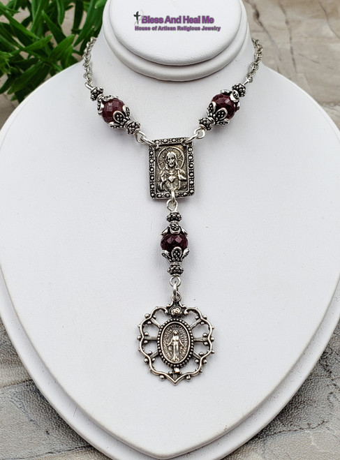 Miraculous Mary Sacred Heart of Jesus Red Ruby Sterling Silver Catholic Christian Necklace Happiness Loyalty July birthstone