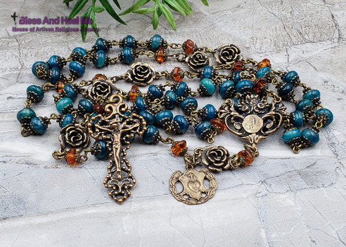 Our Lady of Lourdes Sacred Heart Roses Blue Apatite Amber Ornate Antique Style Gemstone Rosary Faith Love Spiritual connection