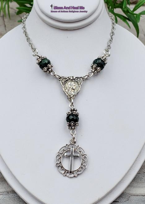 Virgin Mary Jesus Sterling Silver Emerald Ornate Catholic Christian Cross Necklace Joy Faith Prosperity May birthstone