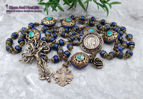 Virgin Mary Miraculous Lapis Lazuli Turquoise Bronze Ornate Antique Style Rosary for protection healing