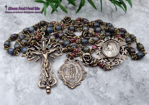 Virgin Mary Roses Sacred Heart of Jesus Carmel Natural Sapphire Ruby Ornate Antique style Bronze Rosary Love,Joy,Faith,loyalty